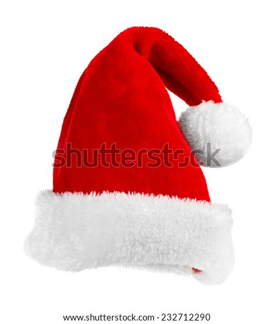 Santa Claus red hat isolated on white - stock photo