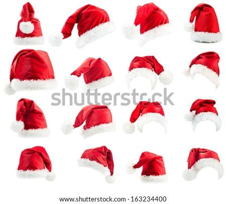 Santa Claus red hats isolated on white background  - stock photo