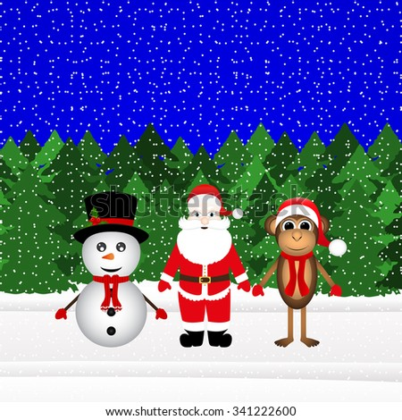 Santa Claus, snowman and Christmas monkey in the forest - stock photo