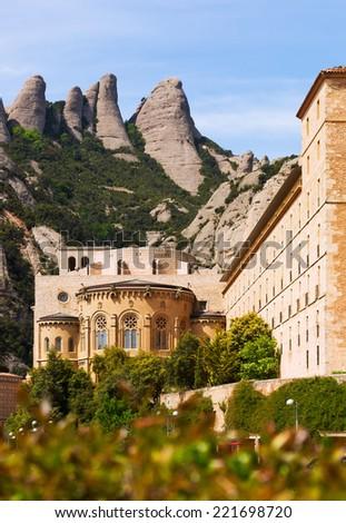 Santa Maria de Montserrat monastery in spring. Barcelona, Catalonia - stock photo