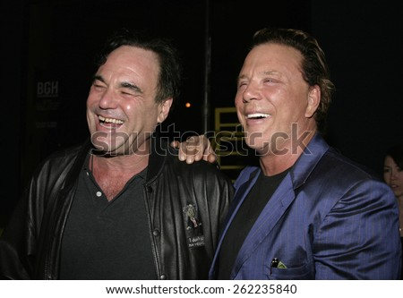 04/01/2005 - Santa Monica - Oliver Stone and Mickey Rourke at the Timothy Greenfield-Sanders XXX: 30 Porn-Star Portraits West Coast Exhibit opening at the Bergamot Station Santa Monica Museum of Art. - stock photo