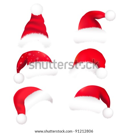 6 Santas Hat, Isolated On White Background