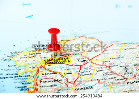 Santiago de Compostela ,Spain  map  - Travel concept - stock photo