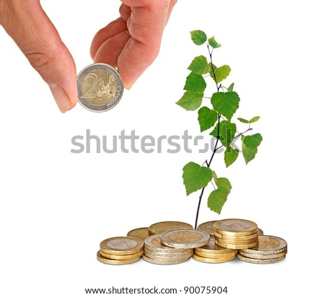 sapling growing from coins - stock photo