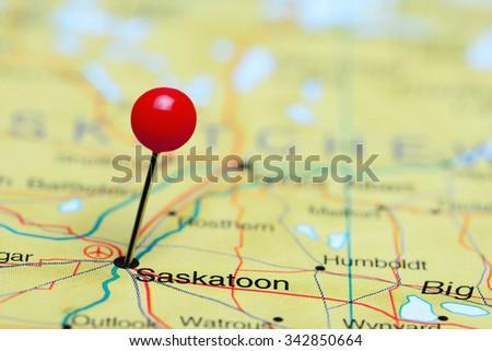 7156 Saskatoon pinned on a map of Canada  - stock photo