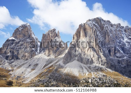 Sassolungo (Langkofel) Group of the Italian Dolomites Mountains.View from Sella Pass.