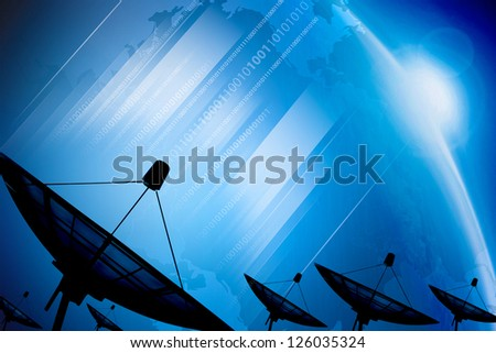 Satellite dish transmission data on background digital blue - stock photo