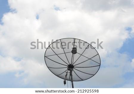 satellite on sky - stock photo