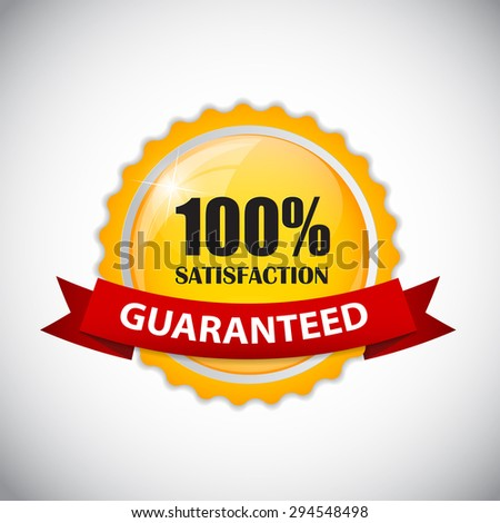 100 % Satisfaction Golden Label  Illustration  - stock photo