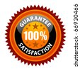 100% Satisfaction Guaranteed Sign on white background - stock photo