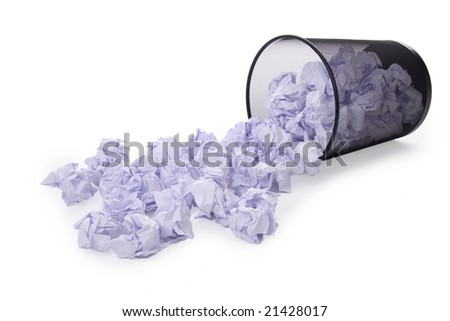 Scatter waste-paper basket full creasy paper insulated on white background - stock photo
