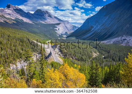 Scenic magnificent canyon on a sunny autumn day. Canyoning excellent highway passes.  Banff National Park, Canadian Rockies - stock photo