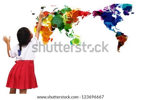 school girl painting watercolor world map on a white wall, isolated on white background
