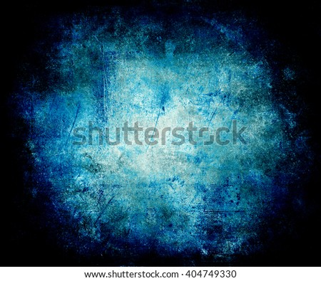 Scratched Vintage Grunge Blue Background With Faded Central Area For Your Text Or Picture - stock photo
