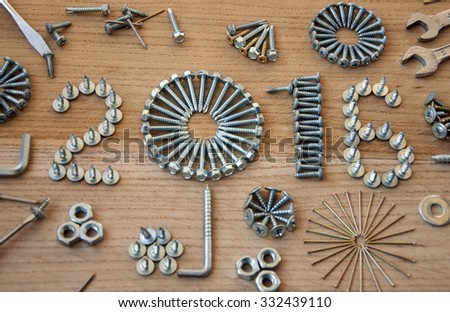 screw, nails, bolt,nut, 2016 new year - stock photo