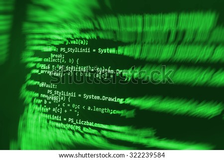 Script developer digital laptop computer programming bytes cyberspace digital modern  engineer software web programmer  Shallow DOF, selective focus effect. Code text written and created by myself  - stock photo