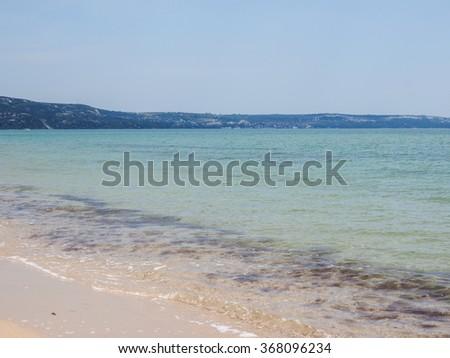 Sea landscape. Summer, beach, clear day. Europe, Bulgaria - stock photo