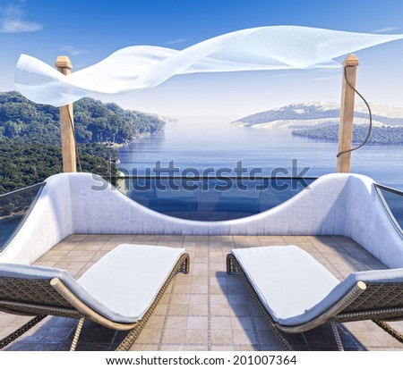 Sea Views and two chairs vacation concept background - stock photo