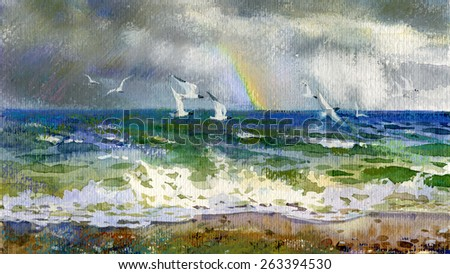 sea with rainbow and seagulls - stock photo