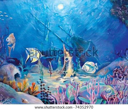 seabed, fish, boat, picturesque, sea, coral, ocean, sand illustration
