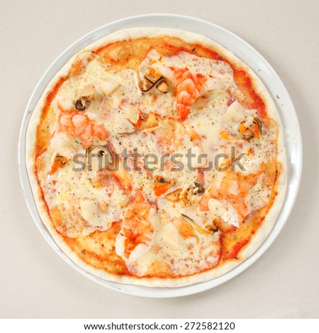 seafood pizza - stock photo
