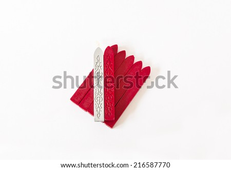 sealing wax candles isolated on white background with shadow - stock photo