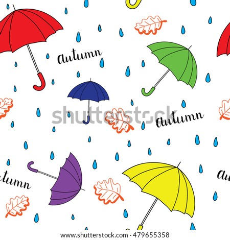 Seamless autumn pattern with umbrella. Bright autumn postcard.