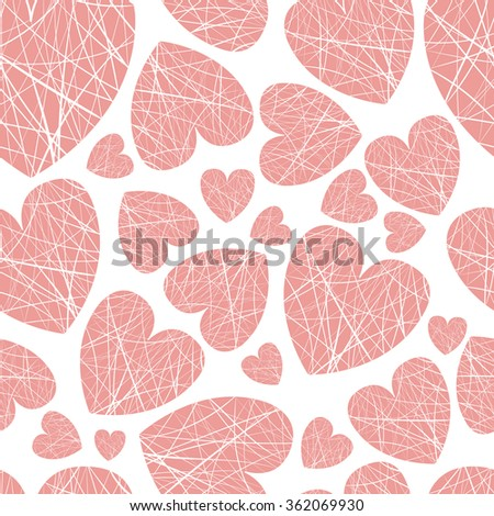 seamless background hearts of different sizes of thread