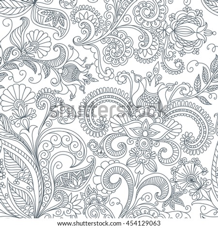seamless black and white floral pattern of spirals, swirls, doodles