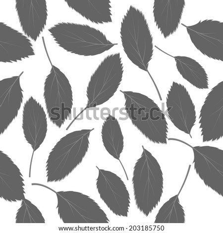 seamless pattern black-and-white leaves on white background - stock photo