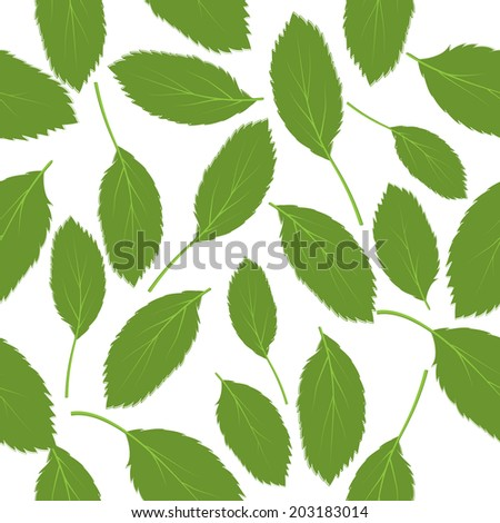 seamless pattern green leaves on white background - stock photo