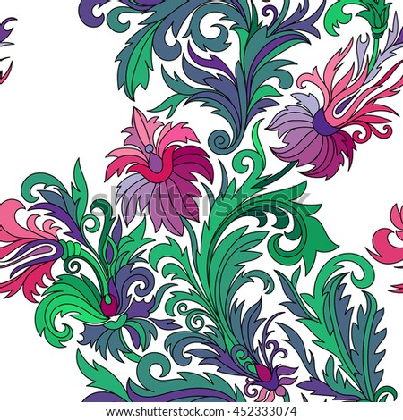 seamless pattern. Hand drawn doodle style fantasy flowers. Lilac pink green blue on white background. Design for fabrics, textiles, paper, wallpaper, web. Vintage. Floral ornament.