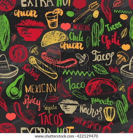 seamless pattern mexican food with lettering. Mexican food tacos, burritos, nachos. Mexican kitchen. Can be used for restaurant, cafe. Mexican food menu.