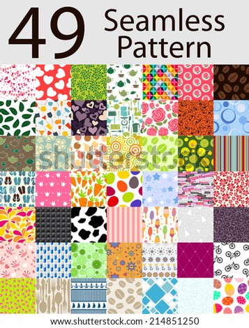 49 Seamless Pattern Set  Illustration. - stock photo