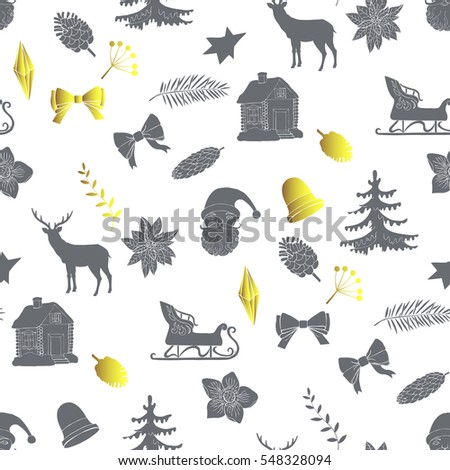 Seamless pattern with Christmas forest. Hand drawn elements with animals and Christmas decorations.   Illustration