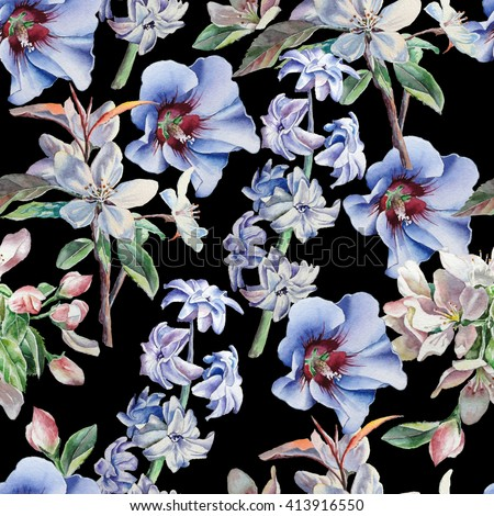 Seamless pattern with flowers on a black background. Blossom. Hyacinth. Watercolor.  Hand drawn. - stock photo