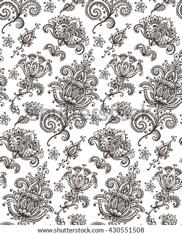 seamless pattern with hand drawn Henna design floral elem - stock photo