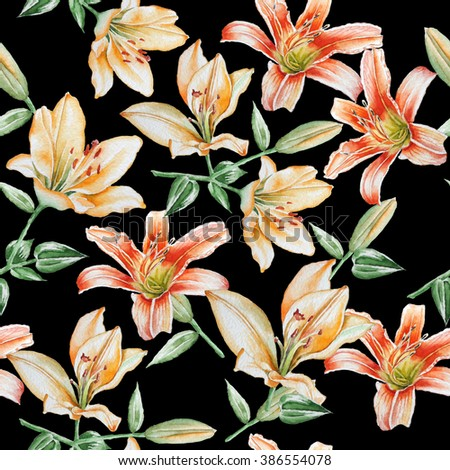 Seamless pattern with lilies. Watercolor. Hand drawn. - stock photo