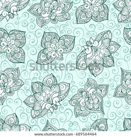 Seamless Pattern With Mint Green Color Bright Ornament Tile In Eastern Style Ornamental Lace