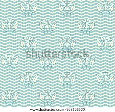 seamless pattern with waves and lilies - stock photo