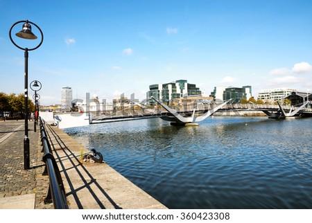 Sean O'Casey bridge, which they won the Istructe Award for Pedestrian Bridges in 2006 in Dublin, Ireland on Septemer 2014 - stock photo