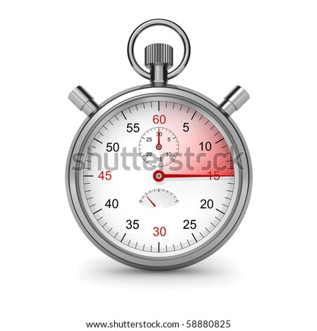 15 seconds. Isolated stopwatch on white. Clipping path included. Computer generated image.