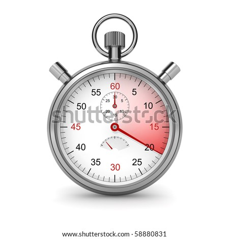 20 seconds. Isolated stopwatch on white. Clipping path included. Computer generated image. - stock photo