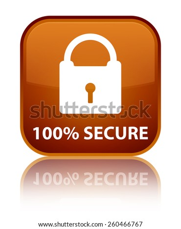 100% secure brown square button