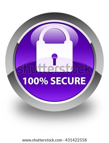 100% secure glossy purple round button
