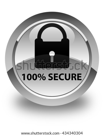 100% secure glossy white round button