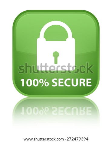 100% secure soft green square button - stock photo