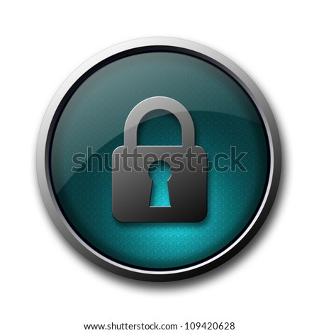 """Security lock on"" blue glossy button isolated on white background"