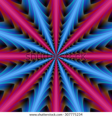 16 Segments in Pink and Blue / A digital abstract fractal image with a geometrical design in pink and blue. - stock photo