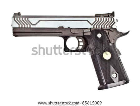 .45 semi-automatic handgun on left hand side view, studio shot - stock photo